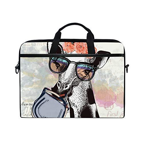 JOYPRINT Laptop Sleeve Case, Fashion Floral Giraffe Animal 14-14.5 inch Briefcase Messenger Notebook Computer Bag with Shoulder Strap Handle for Men Women Boy Girls