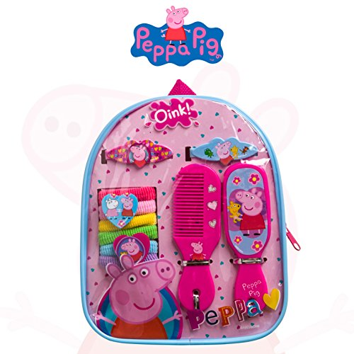 [Peppa Pig Girls Hair Accessories and Backpack Set Comb Mirror Barrettes Terries] (Pig Infant Costumes)