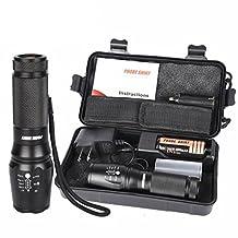 Compia-PROBE SHINY XM-L T6 LED 5000 Lumens 5 Modes Shadowhawk Super Brigh Zoomable Flashlight Torch Set (Battery Charger (US PLUG)+26650 Battery+Flashlight Nylon Pouch+User Manual+Military Case ) (Flashlight Set)
