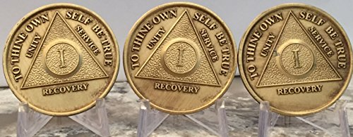 Set of 3 AA 1 Year Bronze Anniversary Sobriety Medallions Serenity Prayer