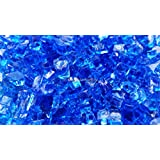 "Fire Glass for Fire Pits Fireplace Blue Diamond 1/4"" Fireglass Glass Pellets Free Shipping (10Lbs)"