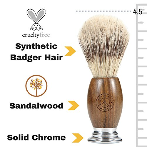 MENS SHAVING KIT ~ Brazilian Sandalwood Shaving Sets, Replaceable 5 Blade Wood Razor, Perfectly Balanced Wet Shaving Kit, Organic Shaving Soap + Sandalwood Shave Brush, Great Men & Groom Gift
