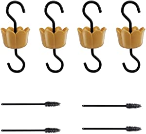 R RUIMEI Garden Hooks for Hanging Bird Feeders, Flower Design 4 Gold ant Moats and 4 Brushes, Hummingbird Feeder ant Guard Keep The Ant Out Off The Feeder