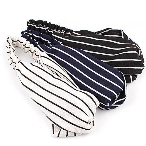 Hair Accessory Wrap (HaloVa Headbands, Elastic Cross Head Wrap Hair Bands Headwear Turban Hair Accessories for Women and Girl, Chiffon Stripe, Fashion, White, Blue, Black)