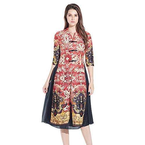 204732774930d VENI MASEE Women s Qipao High Split Dress Printed Traditional Vintage  Chinese Chothing Silk Cheongsam - Buy Online in Oman.