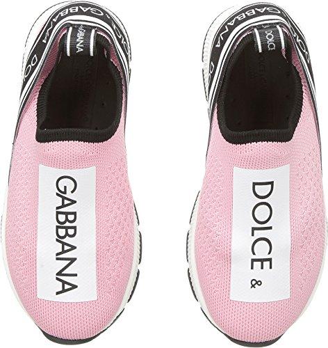 Dolce & Gabbana Kids Baby Girl's Jersey Slip-On Sneaker (Toddler/Little Kid) Rose/White 27 M (Dolce Gabbana Shoes Women)