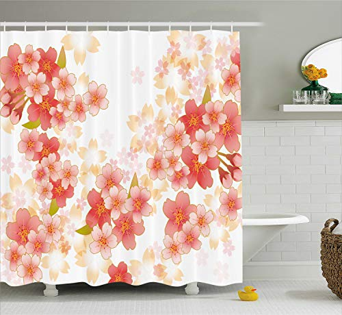 Ambesonne Floral Shower Curtain, Japanese Sakura Flowers Cherry Blossoms in Vibrant Colors Illustration, Cloth Fabric Bathroom Decor Set with Hooks, 75