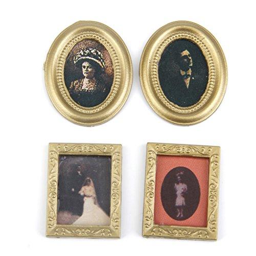 SM SunniMix 4 Pieces 1/12 Dollhouse Miniature Accessories Pictures Art Paintings Home Decor ()