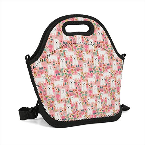 Neoprene Pink Vintage Westie Dog Floral Lunch Bag Lightweight Insulated and Reusable Lunch Tote Bag for Men, Women, and Kids - Work, School, Sport