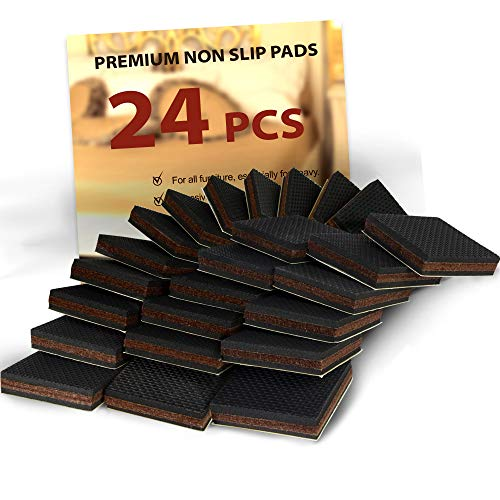 """NON SLIP Furniture Pads 24 PCS SQUARE! Premium 2"""" Furniture Feet with Rubber & Felt - Best Hardwood Floor Protectors for Keep All Furniture. High Effective Rubber Furniture Pads for 100% Satisfactio"""