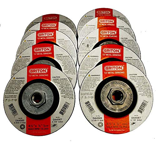 "GRITON DEPRESSED CENTER GRINDING WHEEL 4-1//2X 1//4X 7//8/""  DA4587 LOT of 5"
