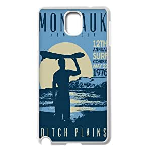 Distressed Inspirational Series, Samsung Galaxy Note 3 Case, Montauk Ditch Plains Retro Vintage Surf Poster Case for Samsung Galaxy Note 3 [White]