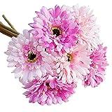 """ZJCilected 11.8"""" Silk Artificial Gerbera Daisy Flower Bouquet for Home Wedding Decor-6 Stems, 6 Flower Heads(Pink)"""