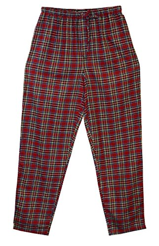 State O Maine Big and Tall Tartan Flannel Lounge Pant (Red XL-T)
