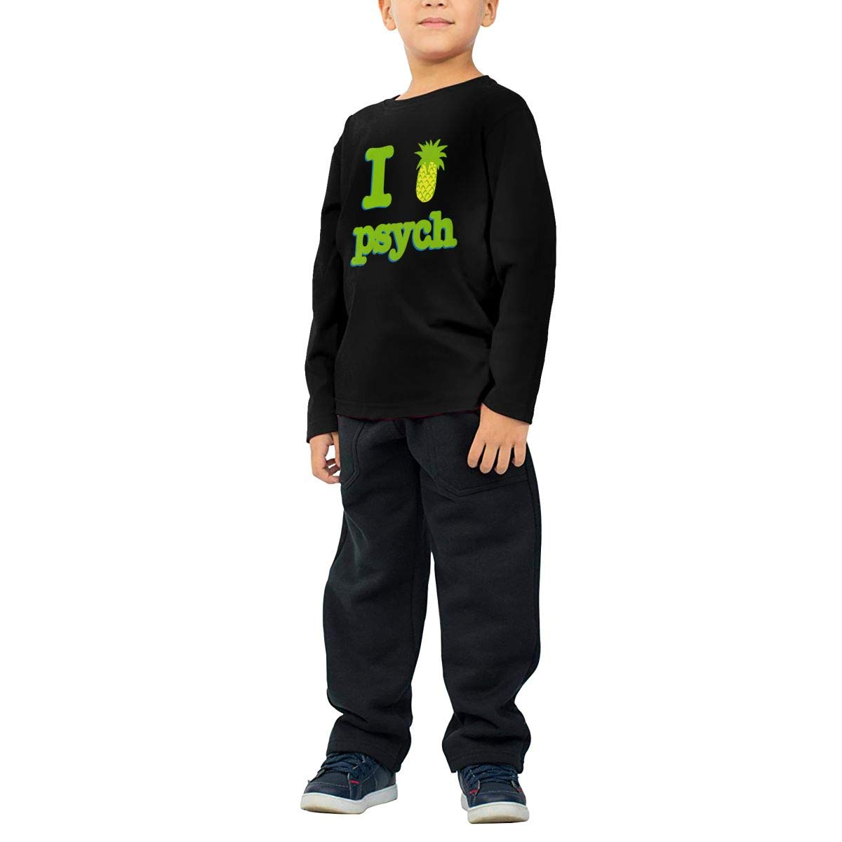 Baby Boys Childrens I Love Psych Printed Long Sleeve 100/% Cotton Infants Tops