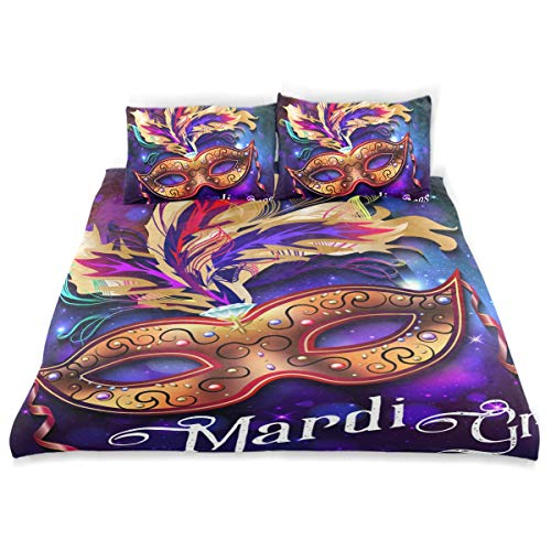 (SUABO 3 Pieces Duvet Cover Set Twin Size Comforter Cover Mardi Gras Mask Ultra Soft Bedding Duvet Cover for)