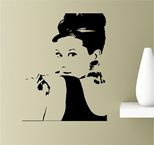 Audrey hepburn face silhouette Vinyl Wall Art Inspirational Quotes Decal Sticker