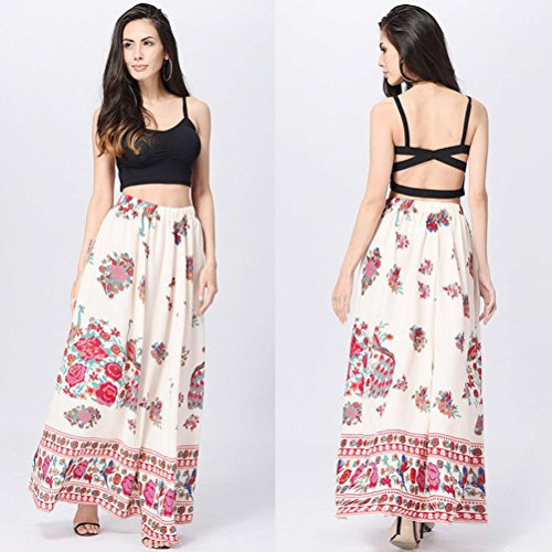 Longue Femmes Rouge Jupe Taille Haute Maxi Boho Jupe Familizo Floral Sfqww