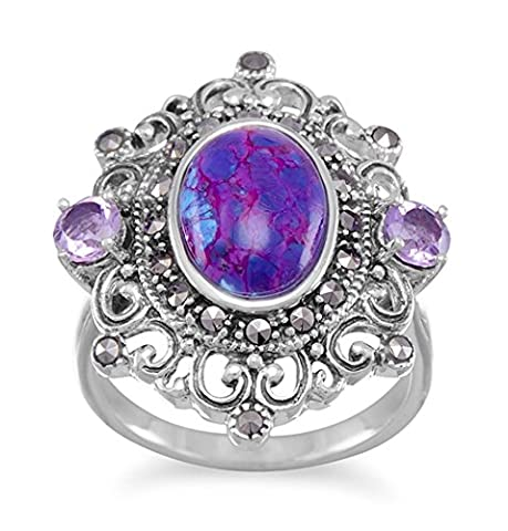 Sterling Silver Ring, Marcasite, 8x11mm Purple Turquoise, 5mm Amethyst, Sizes 6-10, 1 inch (Marcasite Rings Size 11)
