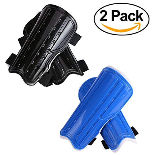 2 Pairs Youth Child Soccer Shin Pads, Kids Soccer Shin Guards Board, Perforated Breathable & Protective Gear Perfect Fit for 6-12 Years Old Kids, Teenagers, Boys, (Old Time Football Player)