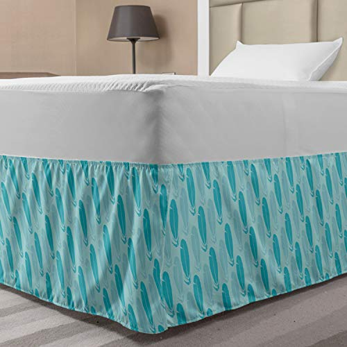 Ambesonne Feathers Bed Skirt, Repetitive Pattern with Diagonal Style Plumage Items Blue Monochrome, Elastic Bedskirt Dust Ruffle Wrap Around for Bedding Decor, Twin/Twin XL, Pale Blue and Sea Blue