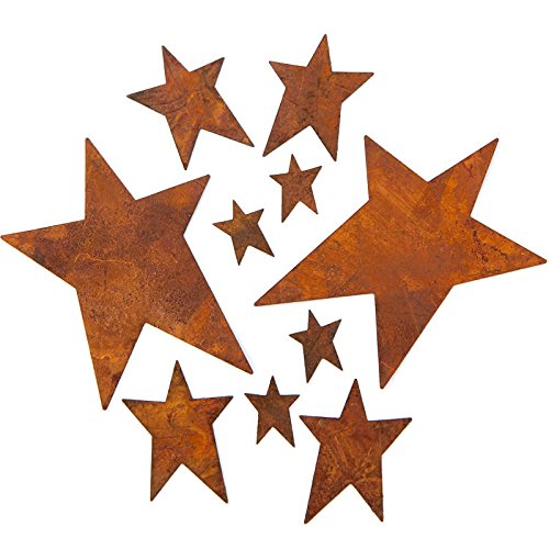 Factory Direct Craft Rusty Tin Assorted Size Star Cutouts with Flat Back | 40 Stars -