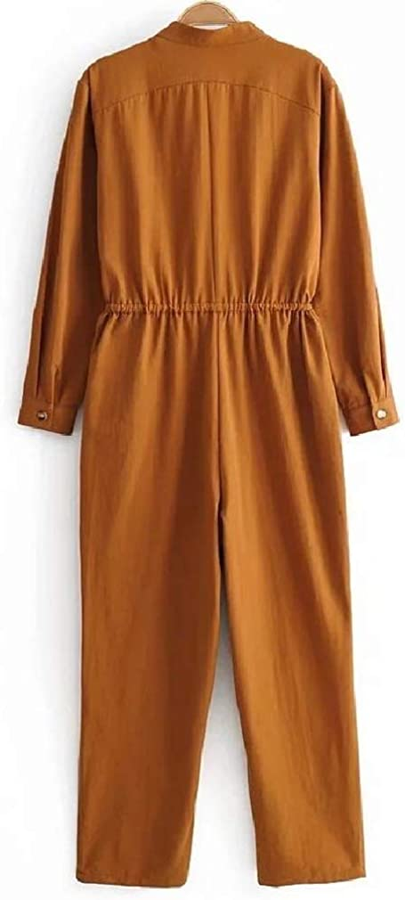 Cromoncent Womens Long Sleeve Button Casual Pocket Cargo Drawstring Romper Jumpsuit