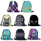 Kikole Print Drawstring Backpack Lightweight Sport Bag for Men Women School Travel Backpack