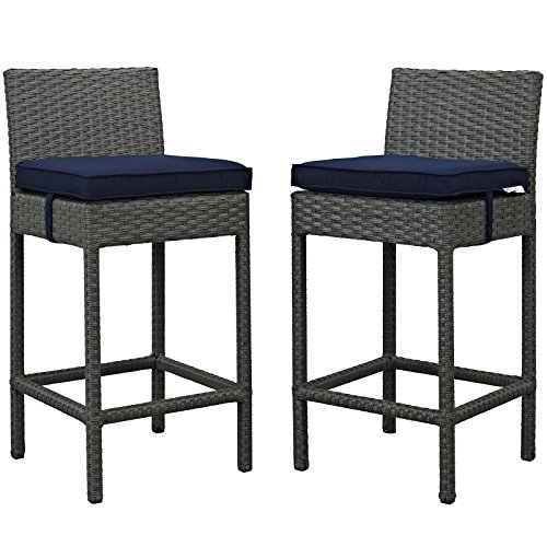 Modway EEI-2195-CHC-NAV-SET Sojourn Wicker Rattan Outdoor Patio