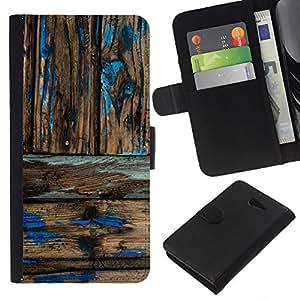 KLONGSHOP // Tirón de la caja Cartera de cuero con ranuras para tarjetas - Modelo de madera rústica Usada pintura - Sony Xperia M2 //