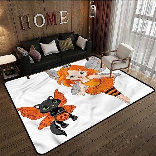 Large Area Rug Halloween Baby Fairy and Her Cat Ideal Gift for Children 4'7