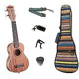 Meideal Soprano Ukulele MUH-21 Acoustic 21 inch ukulele Sapele Wood with Ukulele Capo+Tuner+10 pcs Picks+Strap+Gig Bag 1 Set
