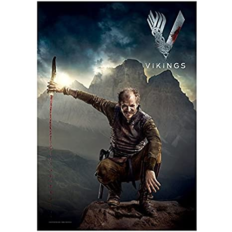 Vikings Gustaf Skarsgård As Floki On Rocks Pouring Blood From Horn