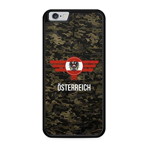 Österreich Austria Camouflage mit Schriftzug - Hülle für iPhone 6 & 6s SILIKON Handyhülle Case Cover Schutzhülle - Bedruckte Flagge Flag Military Militär