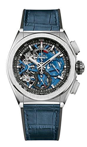 Zenith Mens Defy El Primero 21 44mm Titanium Skeleton Blue Watch 95.9002.9004/78.R584