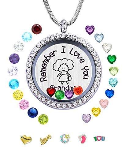 (JOLIN Remember I Love You Grandma Memory Living Floating Lockets 24PCS Birthstones, Women DIY Charms Pendant Necklace Granny, Nice Gift Box)