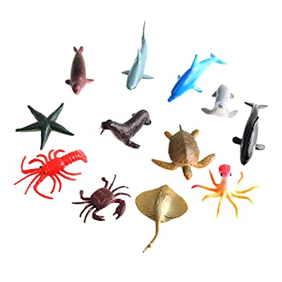 TOYANDONA 24pcs Ocean Sea Animal Figures Mini Plastic Animal Toy Under The Sea Life Figure Educational Toys Bath Toys: Toys & Games
