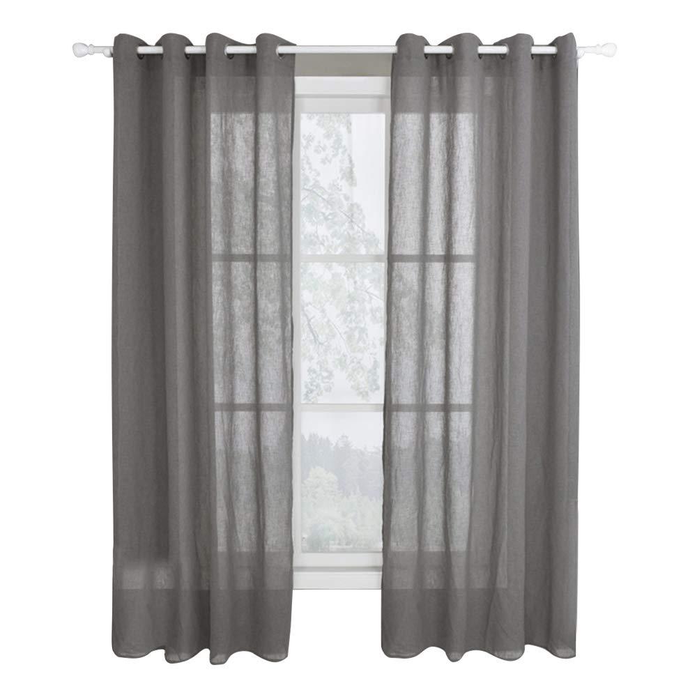 Royaliya Vorhang mit Ösen Transparent Gardine Ösenschals Fensterschal Grau Vorhang 225 cm x 140 cm (H x B)