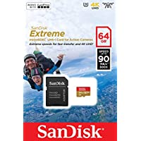 SanDisk Extreme 64GB microSDXC UHS-I Class 10 V30 Memory Card for Action Cameras w/Adapter, Retail Package