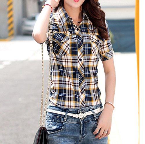 Chemises Hauts Blouses Shirts Mode Slim Revers Tops Tee t Courtes Marin Chemisiers Bleu Casual Femmes Grille Manches rqx0CwrWX