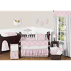 Sweet Jojo Designs Pink, Gray and White Shabby Chic Alexa Damask Butterfly Girls Baby Bedding 9 Piece Crib Set with bumper