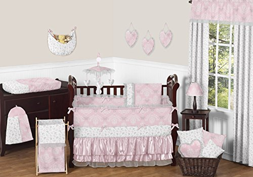 Sweet Jojo Designs 9-Piece Pink, Gray and White Shabby Chic Alexa Damask Butterfly Girls Baby Bedding Crib Set with (Jojo Designs Satin Designer Blanket)