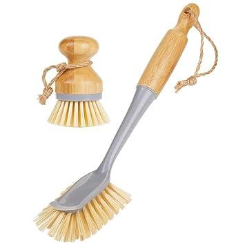 mDesign Juego de 2 cepillos de bambú para fregar platos – Cepillo redondo y cepillo con