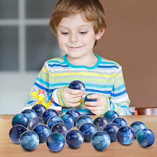 LovesTown 20 Pcs Galaxy Stress Balls, 2.5inches Space Theme Stress Balls Foam Squeeze Balls Stress Relief Balls for Finger Exercise School Carnival Reward Party Bag Gift
