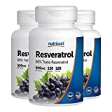 Nutricost Resveratrol 500mg; 120 Capsules - 50% Trans-Resveratrol (3 Bottles)