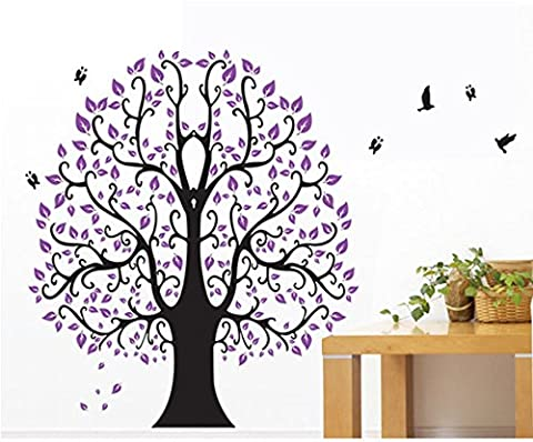 TOTOMO #W155 Purple Tree Wall Decals Removable Wall Decor Decorative Painting Supplies & Wall Treatments Stickers for Girls Kids Living Room (Dark Purple Wallpaper)