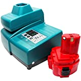 Makita 12v Battery Replacement (1300mAh,NICD) + Universal Charger for Makita Power Tool Battery and Charger - Compatible with Makita 6914D, Makita 6213D, Makita 1222, Makita 6227D, Makita 6217D