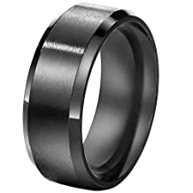 FANSING Jewelry 8mm Stainless Steel Black Wedding Rings Bands for Mens and Womens