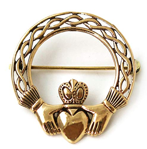 - LynnAround Bronze Norse Irish Claddagh Brooches, Clothes Fasteners - Cloak/Scarf / Shawl Pin, Vintage Jewelry