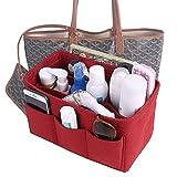 large bag insert - Felt fabric bag in bag purse organizer insert for handbags/tote (Large, Red)